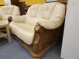 Cream leather sofa set only £135