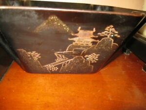 A Chinese antique black lacquered wood bowl