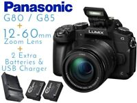 Panasonic Lumix G80 / G85 with 12-60mm Lens + 2 Extra Batteries & USB Charger