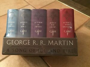 GEORGE R R MARTIN-game of thrones 5 book leather cloth edition