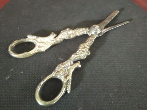 """Vintage Ornate Silver Plated Grapes and Foxes Scissors Made in Italy Sheers 6"""""""