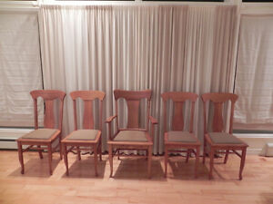 Vintage Victorian Tiger-Oak Quarter sawn T-Back dining chairs