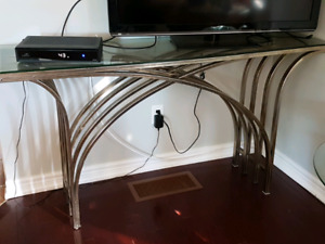GLASS TOP CONSOLE TABLE.