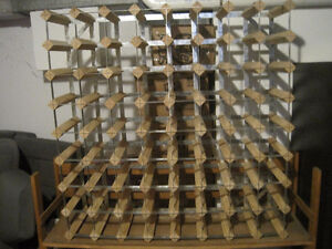 Large Wood and Metal Wine Rack