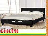 Kingsize leather Base with/ Bedding