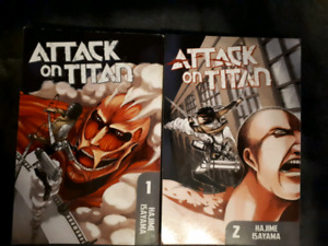 Attack on Titan manga vol. 1 and 2