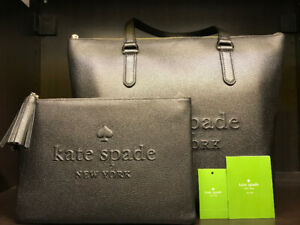 BNWT KATE SPADE Black Leather Tote Bag & Clutch/Tablet Case