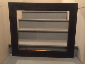 Vintage large black frame made with Barnwood