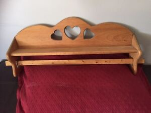 Quilt rack - wood with hearts
