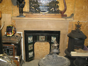 Antique Fireplace Mantle and Victorian Tile Insert  TO.