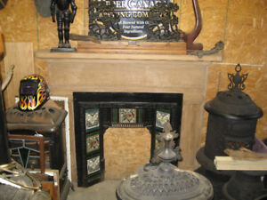 Antique Fireplace Mantle and Victorian Tile Insert