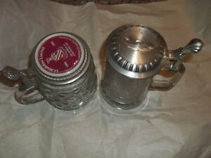 Ornate glass/metal beer steins(2)