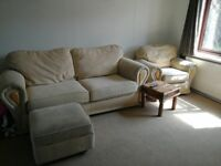 3 seater sofa, arm chair & foot rest