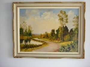 Pair landscape paintings by F.W. Bater
