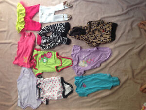 3-9 month Girl onesies, sleeveless jackets and pants