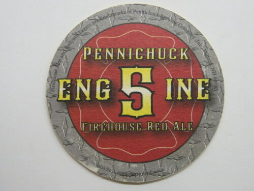 "BEER COASTER"" Pennichuck Brewing Engine 5 Firehouse Red Ale, Milford, NH; CLOSED"
