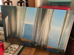 Ocean print on canvas, large