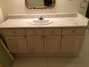 Oak Vanity Cabinet, Counter Top, Sink, and Faucet