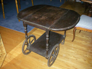 Estate sale-Antique walnut Drop leaf Bar cart/tea wagon