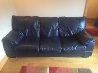 Dark Blue Leather Three Seater Sofa