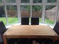 Solid Wooden Table with 6 Brown Leather Chairs