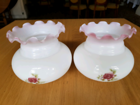 2x glass lampshades - white & pink