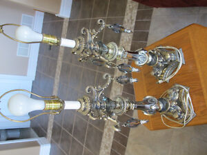 Antique table lamps with crystals