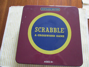 Scrabble Nostalgia Edition wood letters collectors tin