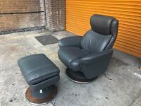 LAZ-boy reclining leather swivel chair with storage foot stool ex display