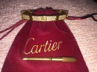 Cartier bangle 18k Gold plated, Paved with Swarovski zirconia crystals