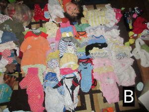 0-6 month boys and girls clothes, pictured, labeled, & priced