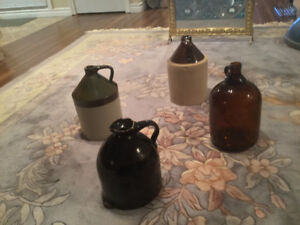 Vintage Stoneware and Glass Gallon Jugs