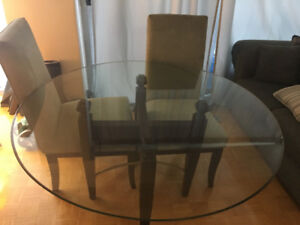 Lay-Z-Boy glass top round table with 4 green microfibre chairs