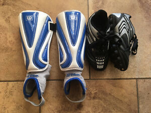 Size 11 Boy's Soccer Shoes and Shin Pads