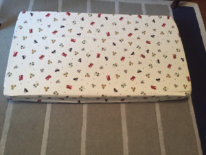 Two crib mattresses and pottery barn bedding sets