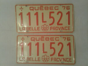Plaque immatriculation, vintage license plate set 1976 Québec.