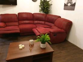Harveys burgundy suede leather recliner corner sofa