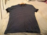 Paul Smith navy and brown striped polo shirt. New lower price.
