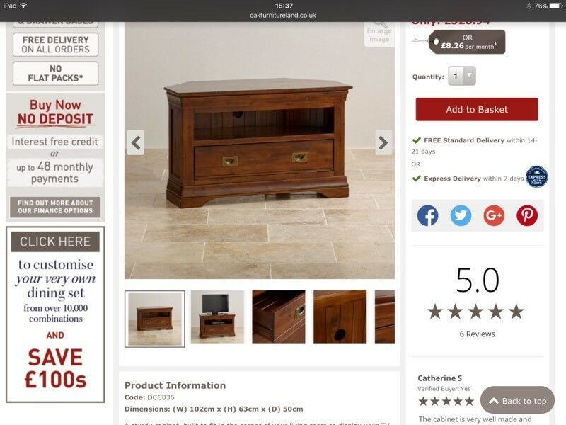 Oak Furniture Land Victoria Range Tv Unit And Coffee Table