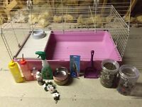 Large pink Guinea pig cage