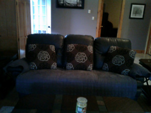 Beautiful 2 year old mint grey leather sofa recliner and chair