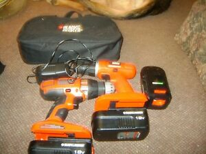 TWO BLACK & DECKER 18 VOLT DRILLS