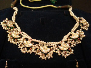 Pearl necklace, earrings & bangles set for sale