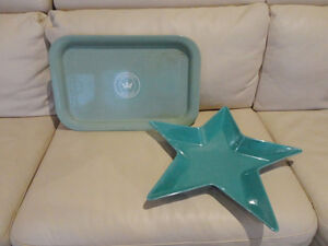 Selling 2 Ikea Turqoise Pottery Serving Platters  $6.50 each