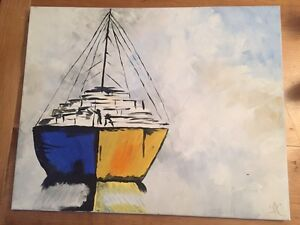 Art: acrylic canvas painting abstract boat