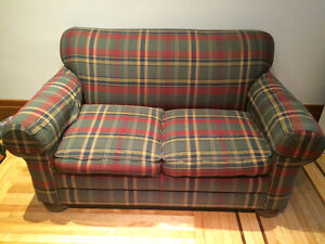 Plaid love seat with cover