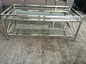 Steven and Chris Glass + Stainless steel coffee table $400 OBO