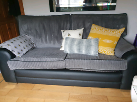 2 + 3 grey and black sofa couch