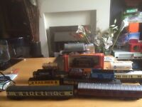 Model train buildings , signal box, carriages and track for sale