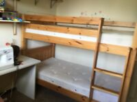 GOOD QUALITY PINE BUNK BEDS WITH 2 MATRESSES